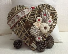 Great wicker heart with fabric decorations and by cosediluna