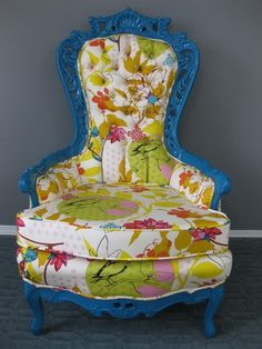 refurbish old chair with more toned down fabric