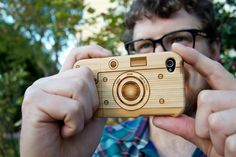 Laser-Engraved Wood iPhone Case Resembling a Camera(light color-for