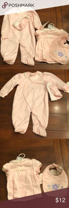 New 6-9 Mos baby girl outfits New Daddy's Little Girl PJs with closed feet and hat by Babygro and two piece outfit by First Moments Layette with diaper cover, bib with Mommy's Precious Sweetheart writing and socks. First Moments Layette Other