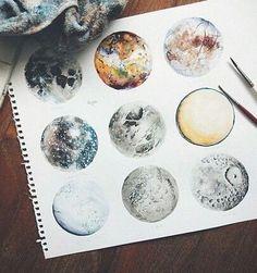art, moon, and drawing εικόνα