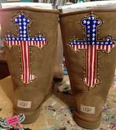Custom Uggs American Flag Cross and Bling, Patriotic Red White and Blue Hand Painted Design Send me Your Boots, DESIGN FEE ONLY by DreaminBohemian on Etsy
