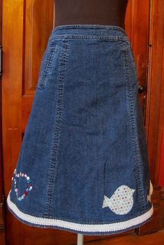 Upcycled Denim Skirt - Fun & Whimsical Birdy Design - Size 8/10