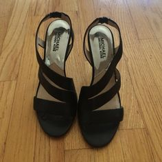 Michael Kors heels Black faux snakeskin heels, heel is about 3 inches Michael Kors Shoes Heels