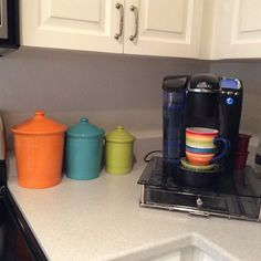 Fiesta® Dinnerware Canisters displayed on counter top.