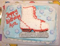 Homemade Ice Skate Birthday Cake Design: My granddaughter requested an Ice Skate Birthday Cake Design for her party at a local ice rink. I printed an ice skate from an online coloring page, and