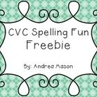 CVC Spelling Fun Freebie!    This makes a great center activity!  Just print the picture cards onto cardstock and laminate for durability.  Student...