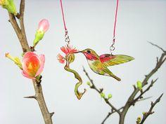 Bird necklace - CALLIOPE HUMMINGBIRD with blossoming twig 01 - ooak - red, white, green - BirdJewelleryThread via Etsy $49.15