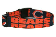 Chicago Bears Dog Collar by ALeashACollar on Etsy Handmade Dog Collars, Handmade Gifts, Chicago Bears, Belt, Trending Outfits, Unique Jewelry, Dogs, Accessories, Etsy