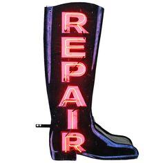 Magnificent Double-Sided Neon Boot Repair Sign, circa 1940 | From a unique collection of antique and modern signs at http://www.1stdibs.com/furniture/folk-art/signs/