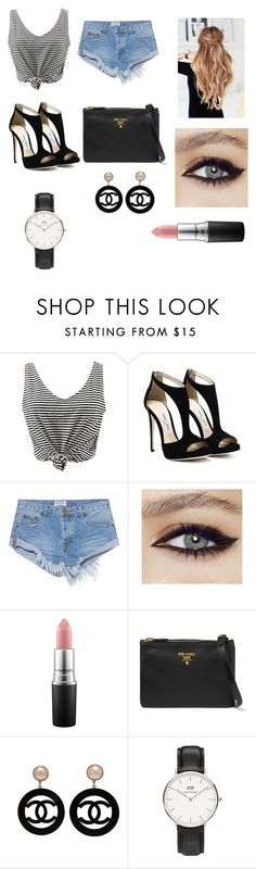 """#"" by ginger-01 on Polyvore featuring Mode, WithChic, One Teaspoon, MAC Cosmetics, Prada, Chanel und Daniel Wellington"