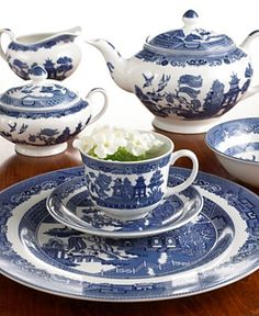Blue Willow pattern by Johnson Brothers. I love my Blue Willow!