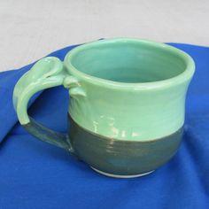 Handmade Ceramic Mug 16 Oz. Tea Cup Handmade Stoneware   Pottery  Green Dinnerware. $20,00, via Etsy.