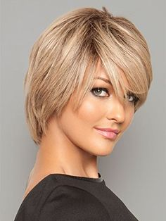 Platinum 003 Lace Front Wig Human Hair Short Face Hand Tied Monofilament Top Womens Hand Made by Louis Ferre Wigs -SUNSHINEGOLD(ROOT)