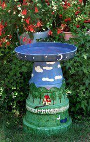 DIY Bird Bath ideas using terra cotta flower pots and saucers