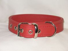 red  leather dog collar with red stitching
