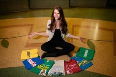 Senior picture with shirts from theatre productions