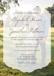 This elegant overlay adds an inventive element to this unique wedding invitation.