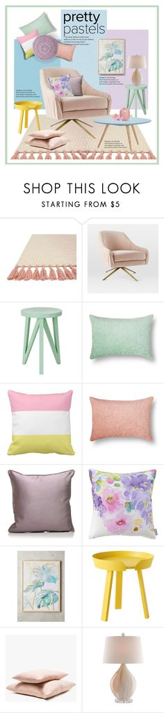 """Pretty Pastels"" by ollie-and-me ❤ liked on Polyvore featuring interior, interiors, interior design, home, home decor, interior decorating, Loloi Rugs, West Elm, Bluebellgray and Sara Brown"
