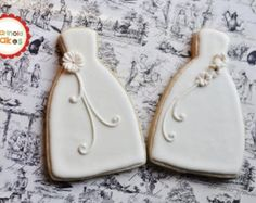 Cookie Wedding Gown Favor- 1 Dozen Cookie Favors, Wedding Cookies, Bridal Shower Cookies, Bride's Maids Gifts