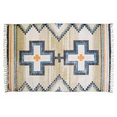 """STBR-Storebror Vloerkleed katoen print kruizen blauw zwart naturel """"printed rug native crosses"""" STBR-IBT0003"""