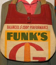 Funk's G Hybrid Corn Seed sack upcycled handbag by LoriesBags