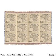 Vintage Map of Africa (1689) Throw