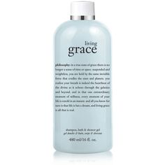 Philosophy living grace 3 in 1 shower gel ($24) ❤ liked on Polyvore featuring beauty products, bath & body products, body cleansers, fillers, beauty, makeup, blue fillers and philosophy