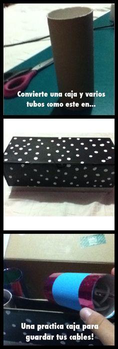 Convierte una caja de zapatos y unos tubos de papel de baño en una bonita y practica caja para guardar y ordenar tus cables! Pinta y decora como mas te guste! :)