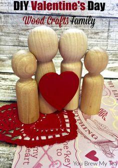 Make this great DIY Valentine's Day Craft idea with easy Dollar Store Supplies!  | Dollar Store Crafts | Valentine's Day Craft | Kids Valentines Day Craft | Wooden People Craft | Best Ever Valentine Centerpiece