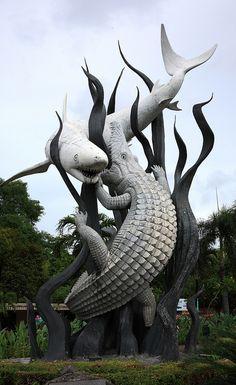 Statue of shark and crocodile,Surabaya,East Java,Indonesia Tattoo Illustration, Animal Sculptures, Surabaya, Dark Art, Pet Birds, Garden Art, Art Inspo, Amazing Art, Shark