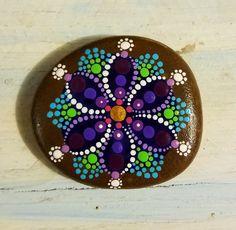 Flower ~ Painted Rock ~ Hand Painted ~ Dot Art ~ Painted Stone ~Original~ Art ~ Painting ~ Miranda Pitrone ~ Decor ~ Rock Art ~ Mandala by P4MirandaPitrone on Etsy
