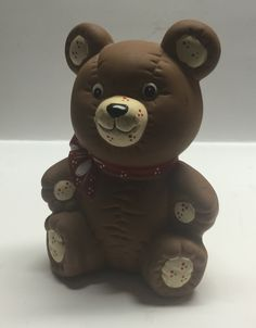 Bear penny bank money bank pottery brown bear baby nursery by Bayleesncream on Etsy