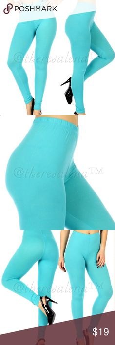 "High waist solid Turquoise leggings Super Soft!  You will love the way these leggings fit and feel.  Made of Polyester/Spandex blend.  Measures at 35"" hip, 26"" length from inseam.  One size fits most.   ‼️PRICE ABSOLUTELY FIRM‼️ THESE ARE BOUTIQUE QUALITY YOU MAY BUNDLE FOR A DISCOUNT. TheresaLena Boutique Pants Leggings"