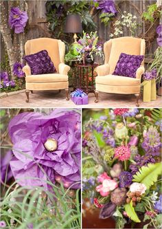 gift opening seats Midsummer Nights dream Bridal Shower www.poshshoppeflorist.com Posh Shoppe Florist purple gold garden shower