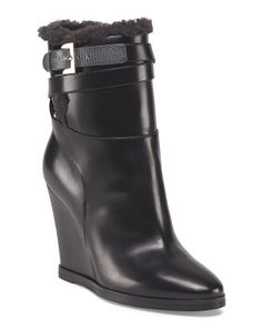 Made In Italy Leather Charline Wedge Bootie