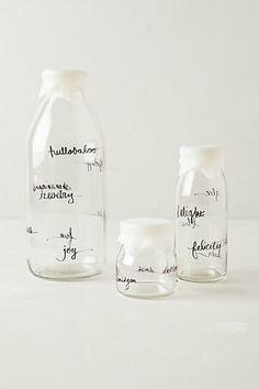 Glass Dairy Bottle #anthropologie