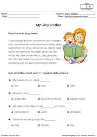 ESL Reading Comprehension - My Baby Brother Student Reading, Kids Reading, Reading Activities, Reading Skills, Teaching Reading, Reading Response, English Reading, English Writing, English English
