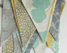 Teal Blue, Grey, and Mustard Yellow Fabric Banner / Party Banner/ Baby Shower Bunting/ Photo Prop/ Bridal Shower