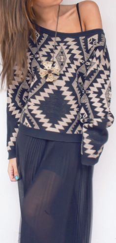 Aztec sweater + sheer maxi makes a sublime outfit. Store comparable at mandysheaven… - Life Style Aztec Sweater, Grey Sweater, Fashion Outfits, Womens Fashion, Unique Fashion, Style Guides, Passion For Fashion, Autumn Winter Fashion, Dress To Impress