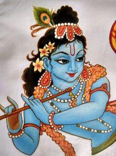 Saree Painting, Kalamkari Painting, Kerala Mural Painting, Madhubani Painting, Indian Art Paintings, Fabric Painting, Hope Painting, Krishna Drawing, Krishna Painting