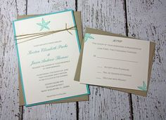 SAMPLE Starfish Wedding Invitations/Beach Wedding Invitation/Summer Wedding Invitations Robin's Egg Blue, Teal Invitation