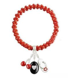 Thomas Sabo Bracelets Cheap Thin Coral Bead Stretch Bracelet Embellished With Three Charms - E