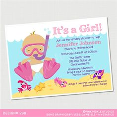 Pool party baby shower invitation summer baby shower coed baby baby diver invitation scuba diver party baby diver party scuba diving party summer baby shower invitation baby shower invitation 298 filmwisefo