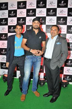 Harbhajan Singh, Mr Biren Vaidya along with his son Arjun Vaidya addresses the media outside Rose - The Watch Bar