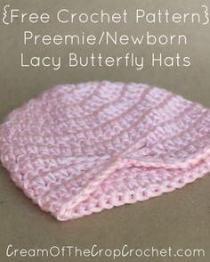 Preemie Newborn Lacy Butterfly Hat Crochet Pattern   Cream Of The Crop Crochet