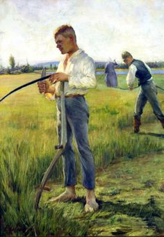 Pekka Halonen: Niittomiehet (Men Cutting Hay), oil on canvas 1891, private collection
