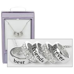 "Equilibrium Diamante White Gold Charm Necklace ""Best Friends Forever"