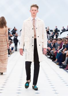 Burberry Spring/Summer 2016. White starched lace caban, black wool mohair straight leg trousers and suede tassel loafers