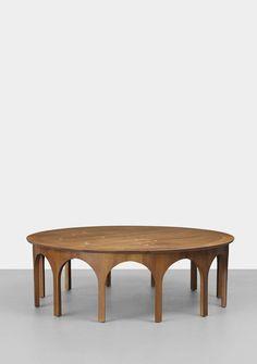 © T.H. Robsjohn-Gibbings. Constellation coffee table, walnut, nickel-plated brass. for Widdicomb. United Kingdom, 1956. sold via Live Auctioneers